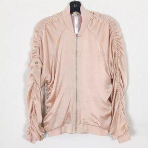 Free People light pink satin bomber jacket sz S